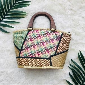 Wicker Colorful Purse with Wooden Handle